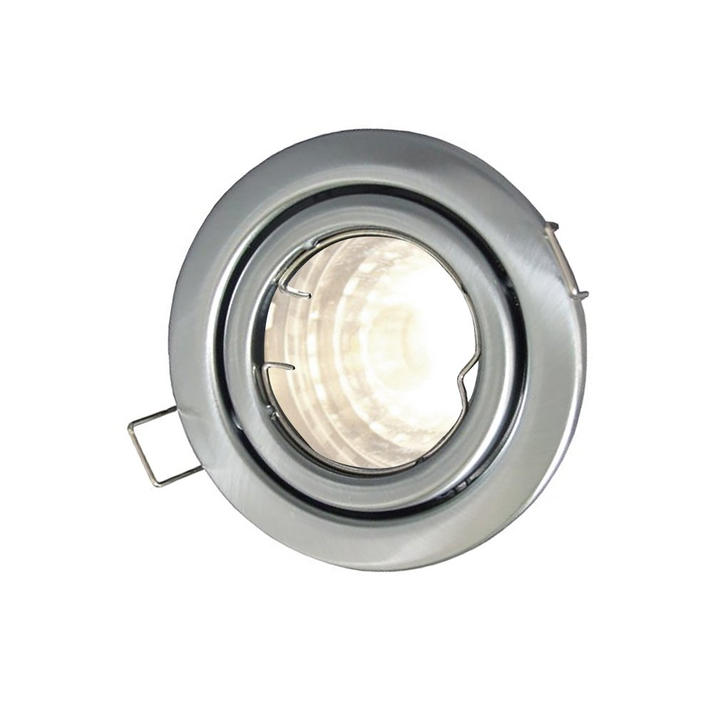 with Dimmable Daylight 4000K GU10 Bulb Mirrorstone GU10 Recessed Ceiling Tilt Downlight Fitting Brass