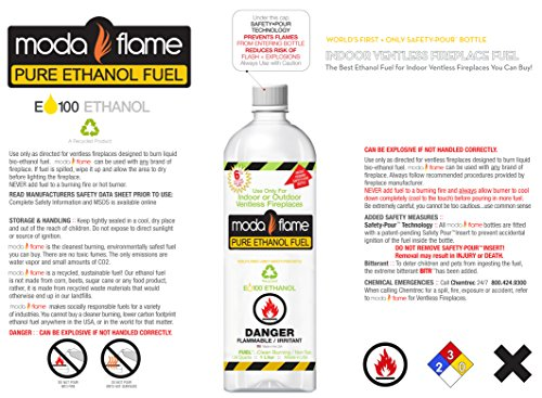 moda flame premium bio ethanol fireplace fuel 6 liters