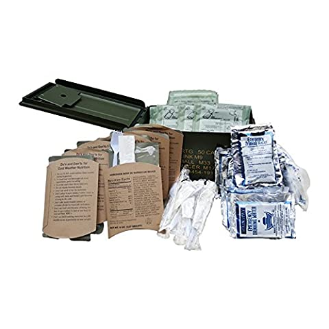 50 Cal Ammo Can MRE 8 Meat Entrees and 16 Water Packs