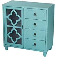 Heather Ann Creations 4 Drawer Wooden Accent Chest and Cabinet, Clover Pattern Grille with Glass Backing, 30.75H x 29.5W, Turquoise