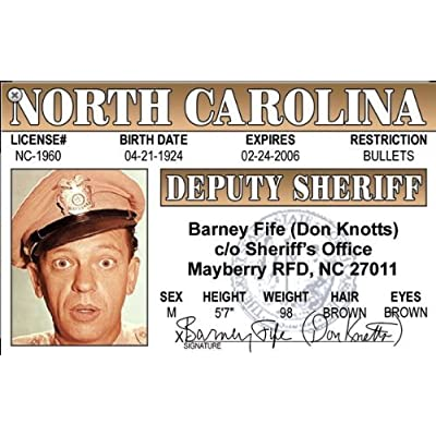 Barne Fife Driver License Deputy Sheriff: Automotive