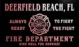 qy52127-r FIRE DEPT DEERFIELD BEACH, FL FLORIDA Firefighter Neon Sign