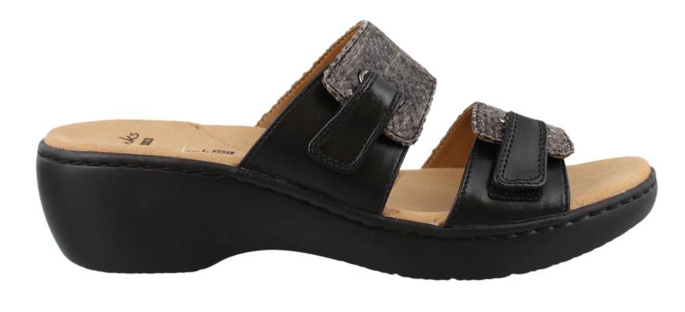 CLARKS Women's Delana Fenela Dress Sandal, Black Snake Leather Combo, 9.5 B(M) US
