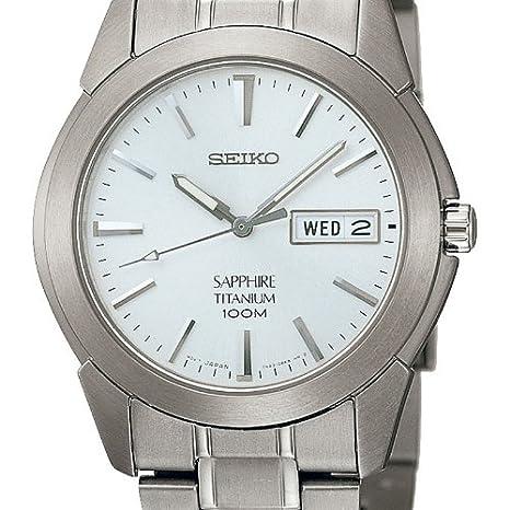 Seiko Reloj Analógico de Cuarzo para Hombre con Correa de Titanio - SGG727P1: Amazon.es: Relojes