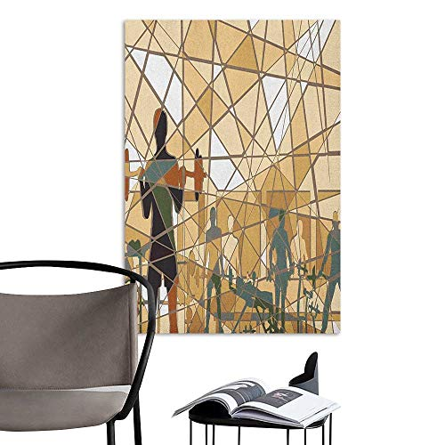 Self Adhesive Wallpaper for Home Bedroom Decor Fitness Mosaic Design of People Exercising in a Gym Barbells Weightlift Slate Blue Pale Brown Black Window Wall Sticker W16 x H20