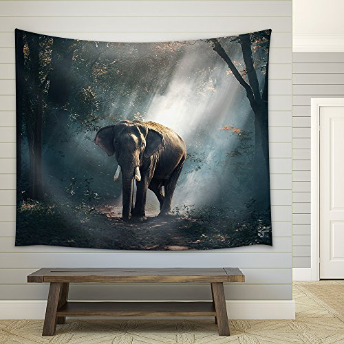 Elephants in The Forest Fabric Wall