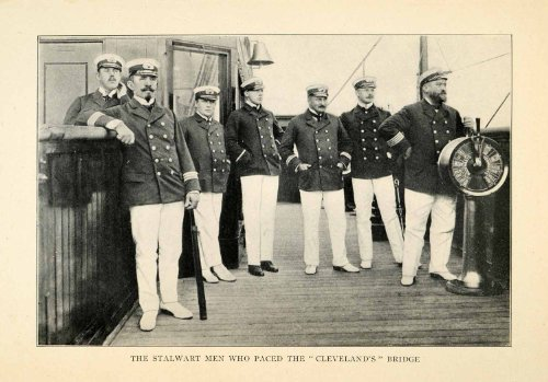 [1912 Print Cleveland Officers Sailors Bridge Costume Ship Bell Spyglass Deck - Original Halftone] (Cleveland Costumes)