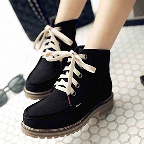 Toe Trendy Up Stitching Lace Chunky Platform Easemax Mid Black Women's Boots Round Frosted Heel f15X4