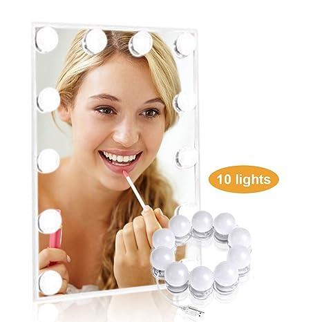 Spiegel Beleuchtung LTPAG 10 Stücke dimmbar Hollywood Stil Schminktisch...