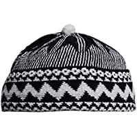 9b54a5c6df4 Indigo Blue Zigzag Design Muslim Beanie Kufi Hat Crown with White Ball - Stretchable  Onesize Hat