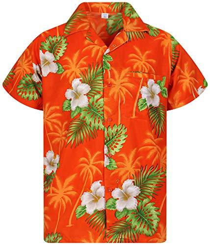 (Funky Hawaiian Shirt, White Flower, orange, L)