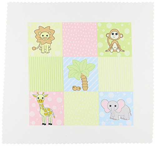 3dRose qs_13839_1 Baby Jungle Animals Print Pastels-Quilt Square, 10 by 10-Inch