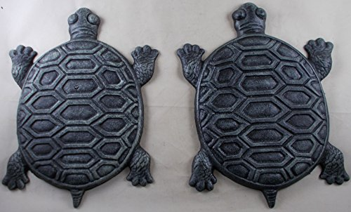 (Set of 2 Iron Verdigris Garden Turtle Stepping Stone)