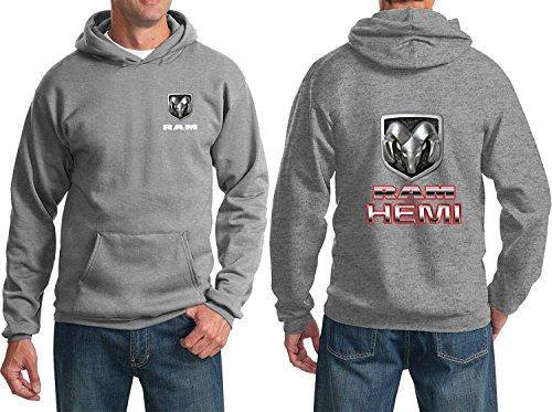 Badge Sweatshirt - RAM Hemi Logo Dodge Emblem Mopar Badge Sweatshirt (F&B), Athletic Heather, XL