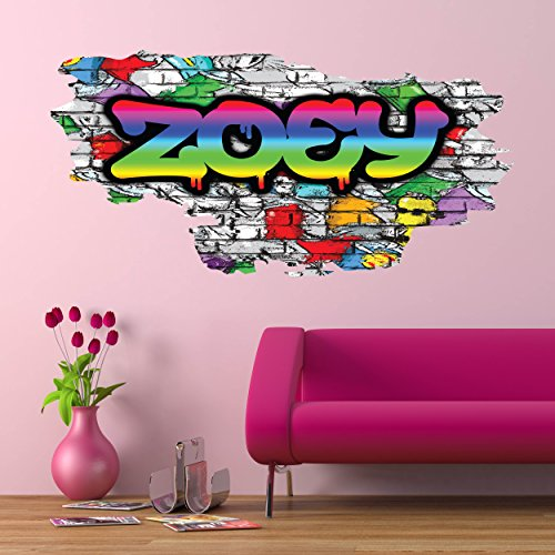 Personalized Full Multi Color Custom Graffiti Name Cracked Wall Art Stickers Decor For Kids Vinyl Decals Murals Graphics Prints WSDPGN22