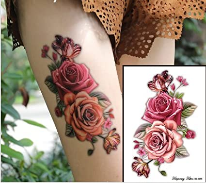 Rosas Flores Tattoo Flash Tattoo Fake Tattoo hb665: Amazon.es: Belleza