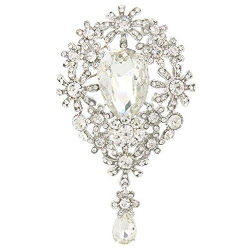 EVER FAITH Silver-Tone Austrian Crystal Banquet Daisy Flower Teardrop Brooch Pendant Clear N04763-1