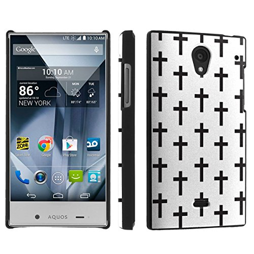 Sharp Aquos Crystal (Virgin Mobile, Boost Mobile, Sprint) (White Cross) Sleek Clip Cover Case by [SkinGuardz]