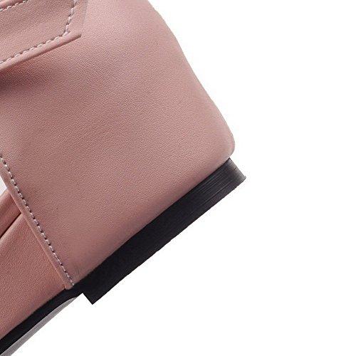 Amoonyfashion Kvinners Lave Hæler Mykt Materiale Solid Spenne Pekte Sandaler Rosa