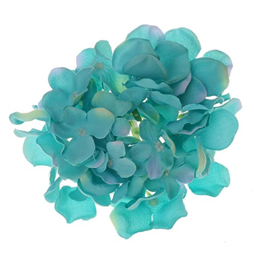 Generic (Pack of 10pcs) Tiffany Blue Artificial Silk Hydrangea Head Silk Flower Heads Wedding Decorations--5.9inch