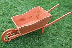 Jardinera de madera para el jard n con forma de carretilla - Amazon jardineras ...