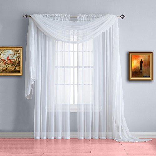 Warm Home Designs Pair of Medium Length White Sheer Window Curtains. Each Voile Drape Is 56 X 72 Inches in Size. Great for Kitchen, Living or Kids Room. 2 Fabric Panels Included. Color: White 72