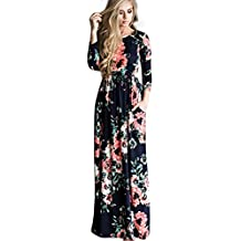 DANALA Women's Casual Floral Print Long Sleeve Round Neck Vintage Maxi Dress