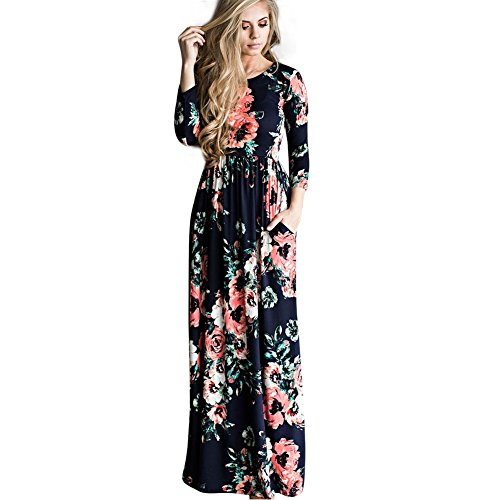 DANALA Women's Floral Printed Flowy Vintage Style Long Sleeve Long Maxi Dress Royal Blue Size XL