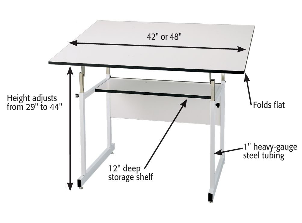 Amazon.com: Alvin WMJ 4 XB WorkMaster Jr. Table, White Base, White Top 31  Inches X 42 Inches: Industrial U0026 Scientific