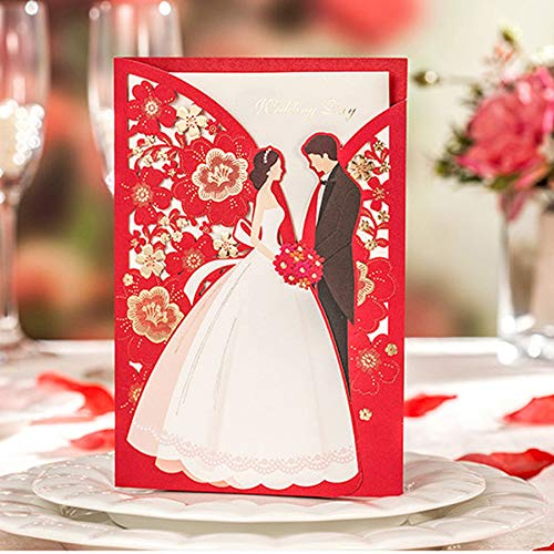 Wishmade 50pcs Red Laser Cut Wedding Invitations Card with Elegant Bride and Groom Flora Design for Engagement Bridal Shower Anniversary Marriage Mr Mrs Invites (Set of 50pcs) (The Best Wedding Invitations Design)