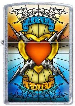 (Zippo Custom Lighter - Tattoo Love Hate Electric Heart RARE!)