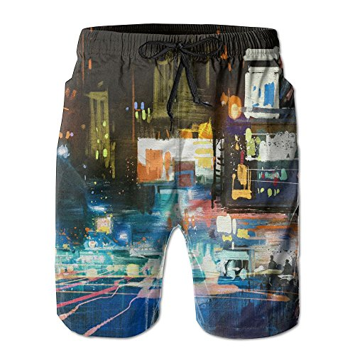 Springtime Oil Painting (Oil Painting City Boy'sAdult 3D Digital Printed Casual Fashion Polyestershorts Adjustable Shorts)