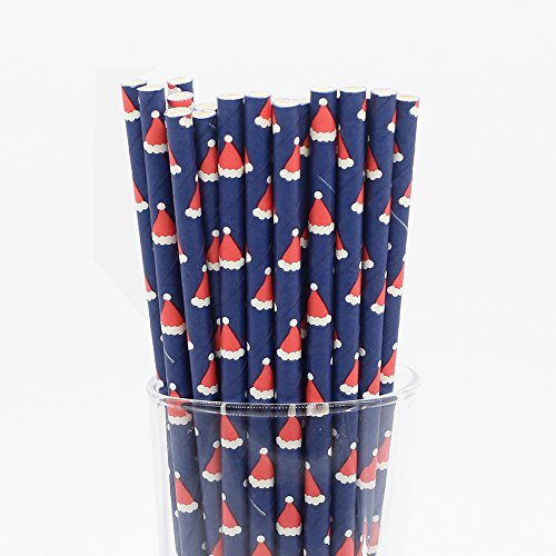 [Cute Navy Blue Bottom and Christmas Hat Drinking Paper Straws for Valentine's Day Wedding Party Biodegradable Straw Box of] (Drinking Hats With Straws)