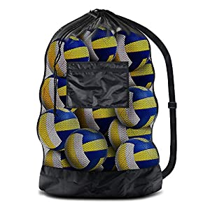 """BROTOU Extra Large Sports Ball Bag Mesh Socce Ball Bag Heavy Duty Drawstring Bags Team Work for Holding Basketball, Volleyball, Baseball, Swimming Gear with Shoulder Strap (30"""" x 40"""", 24"""" x 36"""")"""