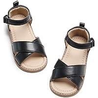 Felix & Flora Girl Brown Gold Sandals - Little Kids Toddler Dress Shoes Size 6-12 for Summer Party Wedding School Flats