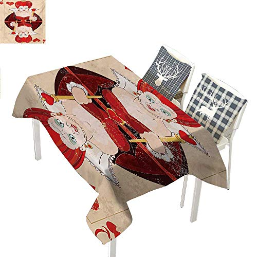 (WilliamsDecor Alice in Wonderland Picnic Cloth Queen Cards Playing Alice Character in Fictional Fairy Tale PrintRed Brown Ecru Rectangular Tablecloth W52 xL70)