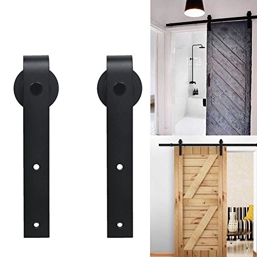 CCJH 6FT Heavy Duty Sliding Barn Door Hardware Kit, One Piece Rail Black, 16 inch Holes Distance, Fit 36