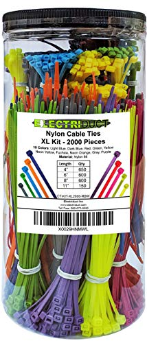 Electriduct Nylon Cable Tie Kit - 2000 Zip Ties