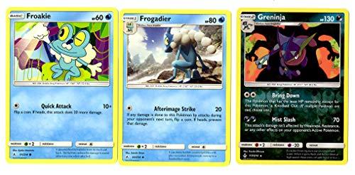 Evolution Card Set – Greninja 117/214 – Sun Moon Unbroken Bonds – Rare Holo 3 Card Lot