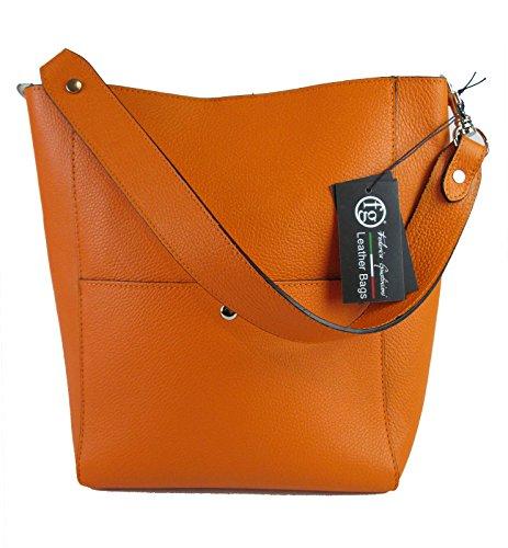 Borsa da donna con manico in vera pelle Made in Italy FG Celin arancio