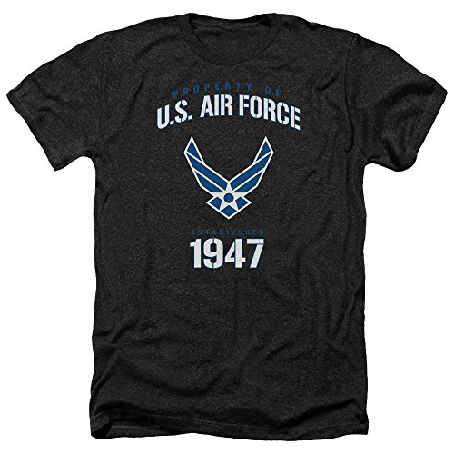 - Trevco Men's Air Force Short Sleeve T-Shirt, Property Heather Black, Medium