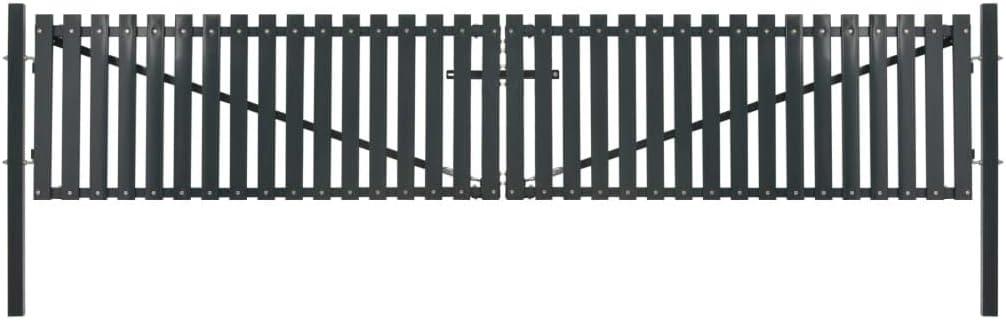Tidyard Puertas Jardin Puerta Galvanizada Exterior Cancela de Valla de Doble Puerta Acero 400X125 Cm Antracita: Amazon.es: Hogar