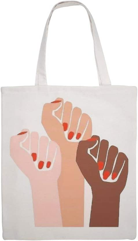Cotton Canvas Tote Bag Girl Power Shoulder Grocery Shopping Bags Cloth Shopping Bag