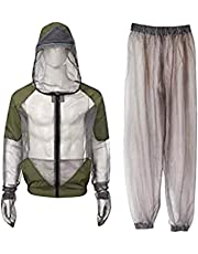LIOOBO Outdoor Mosquito Repellent Suit Bug Jacket Mesh Suits for Fishing Hiking Hunting Camping (Grey, Size M)