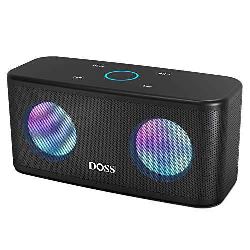 DOSS SoundBox Plus Portable Wireless Bluetooth Speaker with HD Sound and Deep Bass, Wireless Stereo Pairing, Built-in Mic, 20H Playtime, Wireless Speaker for Phone, Tablet, TV, and More-Black