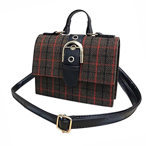 Lywey Women's Fashion Classic Laptop Plaid Stripes Wool Belt Buckle Crossbody Shoulder Bags Messenger Bags Satchel Purse For Girls (Brown)