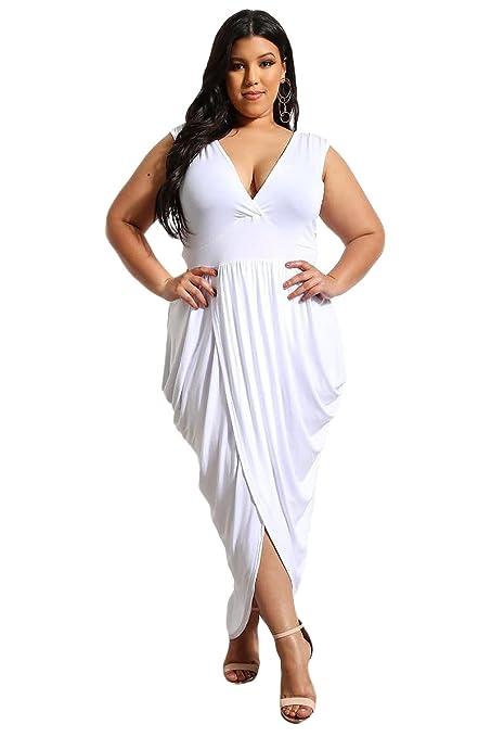 Vestido de fiesta de tamaño grande color blanco, talla XL, para vestido de noche