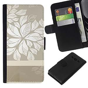 KLONGSHOP // Tirón de la caja Cartera de cuero con ranuras para tarjetas - Patrón floral gris blanco limpio Wallpaper - Samsung Galaxy A3 //