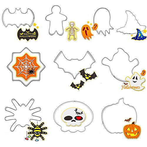 Halloween Cookie Cutters set,10pcs Metal Stainless Steel Cutters Halloween Series Pumpkin Witch Hat Skull Ghost Biscuit Cutters Kitchen Tools Party -
