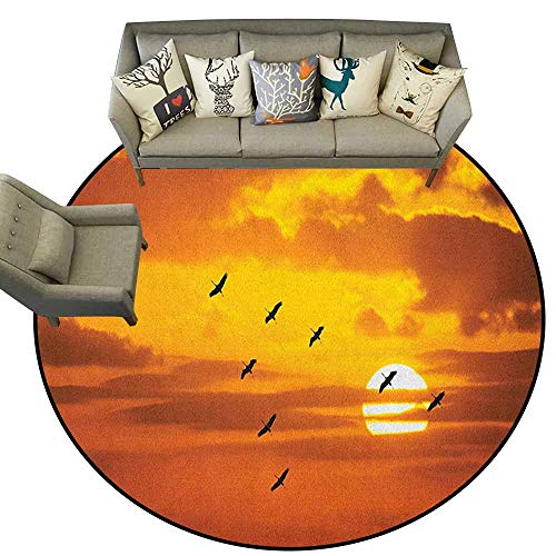 Somerset Dining Room Set - Circular Carpet Super Soft,Birds,V Shaped Formation Flying in Cloudy Scenic Sky with Majestic Sunset Cloudscape Print, Orange,Dining Room Bedroom Carpet Floor Mat 5.2